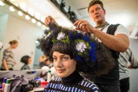Gary Croteau does the hair of model Jessica Clements.